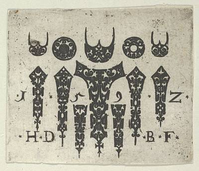 Blackwork Print With A Row Of Seven Poster by Hans de Bull