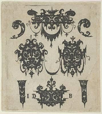 Blackwork Print With Four Shweifwerk Poster by Hans de Bull