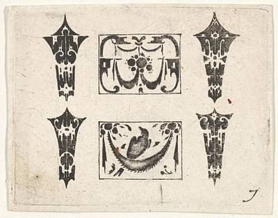 Blackwork Print With Two Horizontal Poster by After Hans de Bull