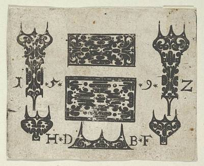 Blackwork Print With Two Horizontal Poster by Hans de Bull