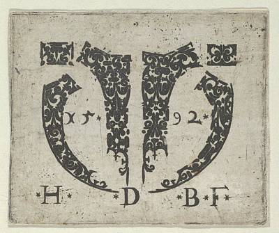 Blackwork Print With Two Small Poster by Hans de Bull