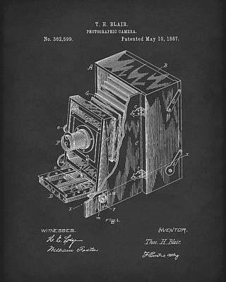 Blair Photographic Camera 1887 Patent Art Black Poster