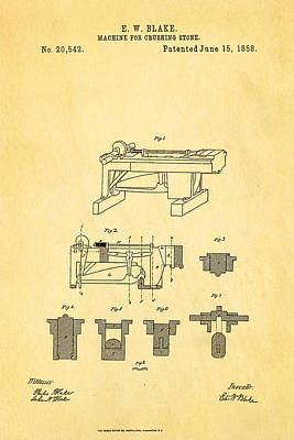 Blake Stone Crushing Patent 1858 Poster by Ian Monk