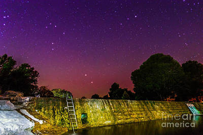 Blanco River Dam At Night - Texas Hill Country Blanco Texas Poster