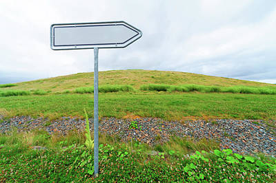Blank Directional Sign In A Field Poster