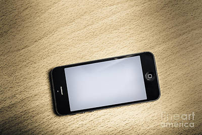 Blank Smart Phone On Wooden Office Desk Poster
