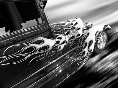 Blazing A Trail - Ford Model A 1929 In Black And White Poster by Gill Billington