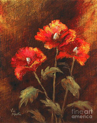 Poster featuring the painting Blazing Poppies by Vic  Mastis