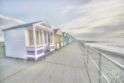 Bleached Huts At Southwold Poster by Rob Hawkins