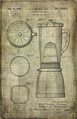 Blender Patent Poster by Caffrey Fielding
