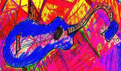 Bleu Guitar Poster