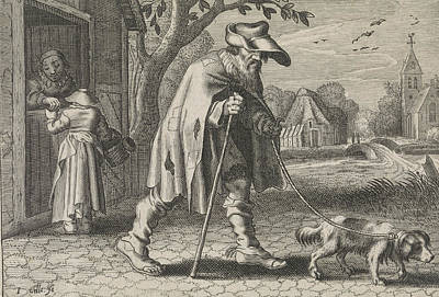 Blind Man Led By A Dog, Woman Before The Door Of Her House Poster
