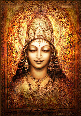 Poster featuring the mixed media Blissful Goddess by Ananda Vdovic
