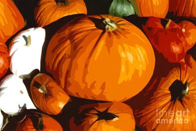 Bloated Pumpkins Poster by Debra Orlean