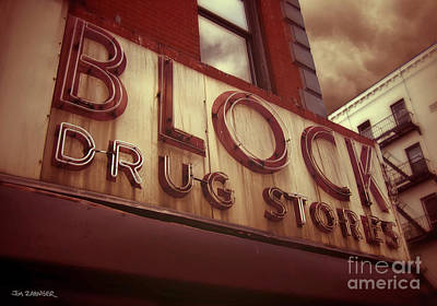 Block Drug Store - New York Poster by Jim Zahniser