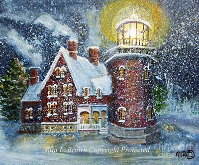 Block Island Lighthouse In Winter Poster by Rita Brown