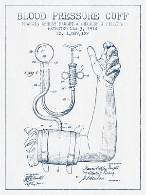 Blood Pressure Cuff Patent From 1914 - Blue Ink Poster by Aged Pixel
