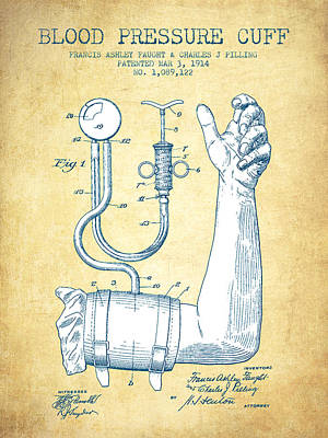 Blood Pressure Cuff Patent From 1914 - Vintage Paper Poster by Aged Pixel