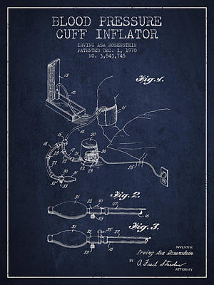 Blood Pressure Cuff Patent From 1970 - Navy Blue Poster by Aged Pixel
