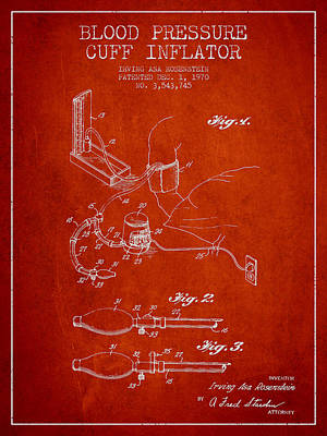 Blood Pressure Cuff Patent From 1970 - Red Poster by Aged Pixel