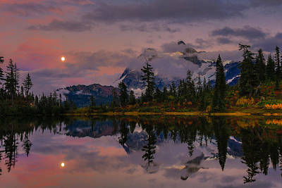 Bloodmoon Rise Over Picture Lake Poster by Eti Reid