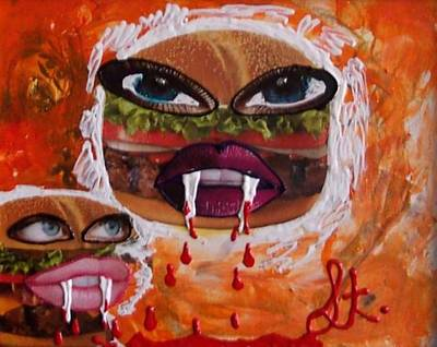 Poster featuring the painting Bloody Meat by Lisa Piper