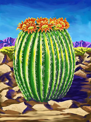 Poster featuring the painting Blooming Barrel Cactus by Tim Gilliland