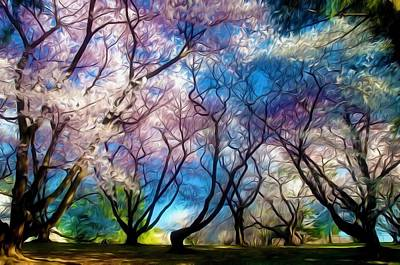 Blossom Cherry Trees Over Spring Sky Poster by Lanjee Chee