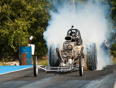 Blown Front Engine Dragster Burnout Poster