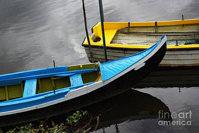 Blue And Yellow Boats Poster