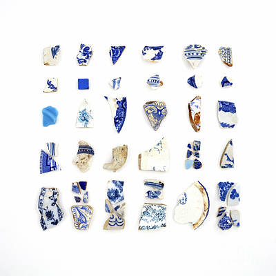 Blue And White Beach China Poster by Jennifer Booher