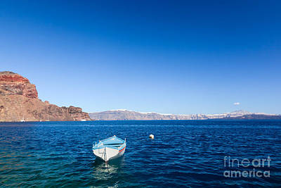 Blue And White Boat On The Aegean Sea Poster
