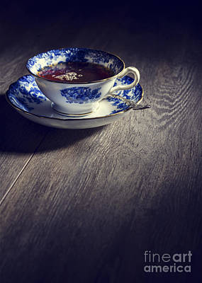 Blue And White China Teacup Poster by Amanda Elwell