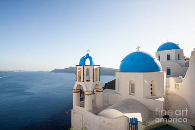 Blue And White Churches In Santorini Greece Poster by Matteo Colombo