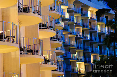 Blue And White Hotel Balcony Abstract. Poster