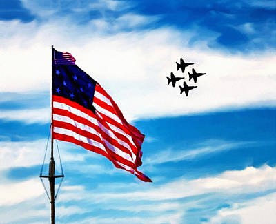 Blue Angels Fly Over Fort Mchenry Flag Poster by Bob and Nadine Johnston