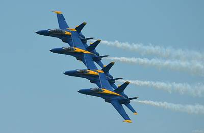 Poster featuring the photograph Blue Angels Practice Echelon Formation Over Pensacola Beach by Jeff at JSJ Photography