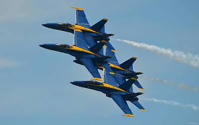Poster featuring the photograph Blue Angels Practice Formation Over Pensacola Beach by Jeff at JSJ Photography