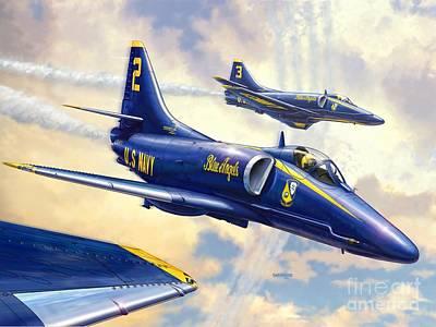 Blue Angels Skyhawk Poster by Stu Shepherd