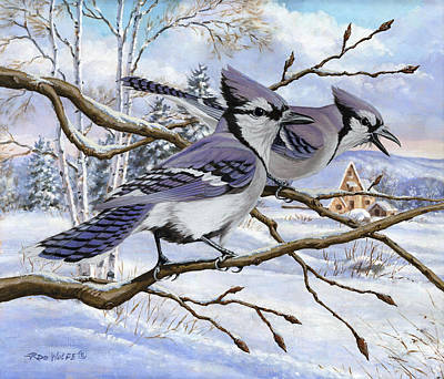 Blue Bandits Winter Afternoon Poster by Richard De Wolfe