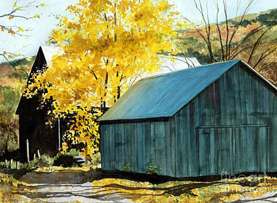 Blue Barn Poster by Barbara Jewell