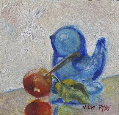 Blue Bird And Cherry Poster