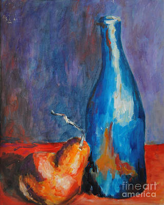 Blue Bottle With Orange Pear Poster by Toelle Hovan