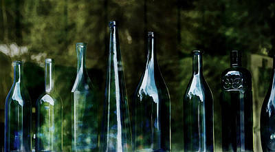 Blue Bottles On A Windowsill Poster by Marion McCristall