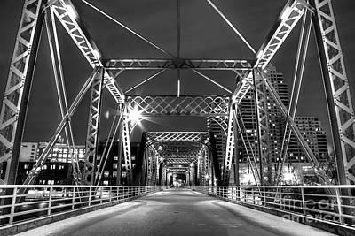 Blue Bridge In Black And White Poster