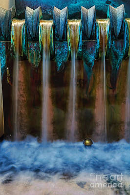 Blue Bronze Water Feature By Kaye Menner Poster