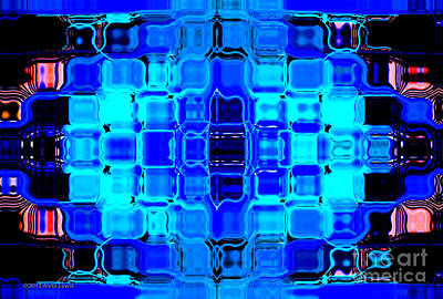 Poster featuring the digital art Blue Bubble Glass by Anita Lewis