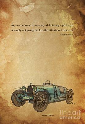 Blue Bugatti Poster