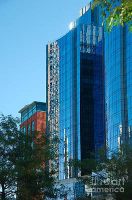 Blue Building Poster by Jim  Calarese