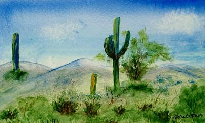 Blue Cactus Poster by Jamie Frier